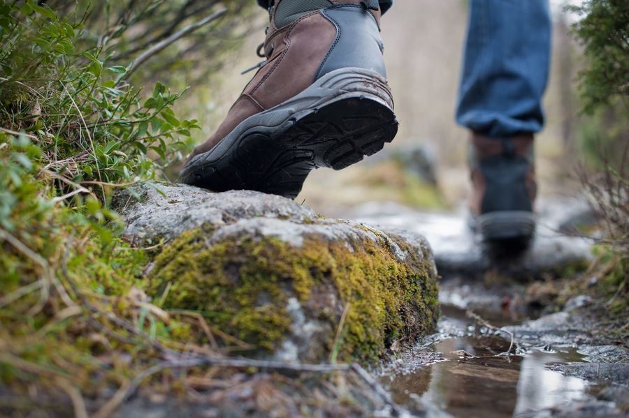 Walk on a mountain patch Forest Boots Walking Boots Legs Trip Walking Tourist Tourism Shoe Low Section Shoe Outdoors Human Leg Real People Day Men Water Standing Nature People Adult