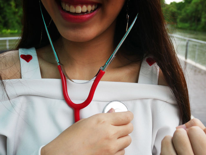 Midsection Of Woman With Stethoscope