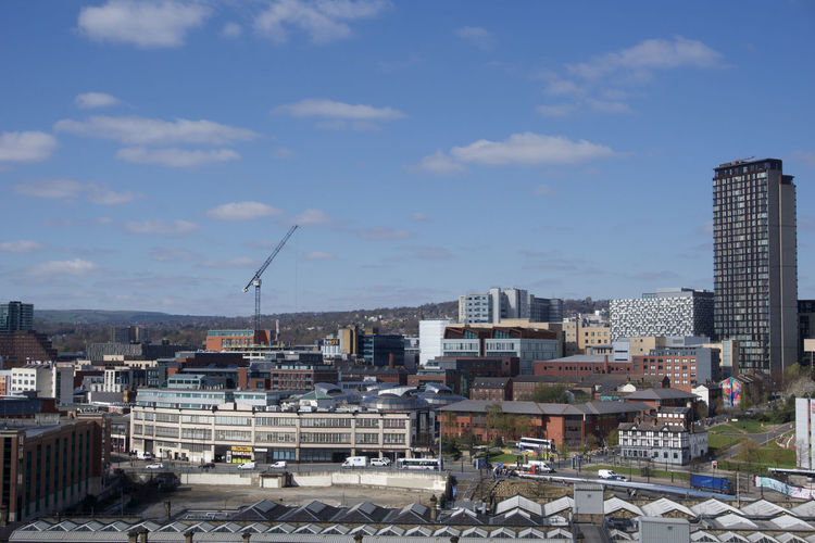 View across Sheffield City Centre from park Hill Sheffield Built Structure Architecture Building Exterior City Sky Building Cloud - Sky Nature Cityscape Day Residential District No People City Life Roof Outdoors Office Building Exterior Skyscraper Sunlight Modern Apartment