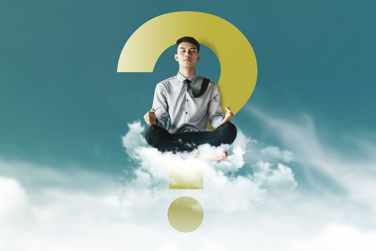 Young Businessman Siting on Cloud above the sky with Yoga meditation posture to find solution or answer, Question mark as background, Supernatural photography Answer Businessman Calm Cloud - Sky Day Exit Front View Holding Lifestyles Looking At Camera Man One Person Outdoors People Portrait Question Real People Sit Sky Thinking Well-dressed Wisdom Yoga