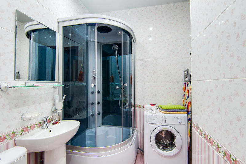Bathroom Household Equipment Domestic Bathroom Indoors  No People Domestic Room Machinery Hygiene Washing Machine Home Glass - Material Sink Reflection Mirror Window Tile Appliance Architecture Laundry Absence Clean