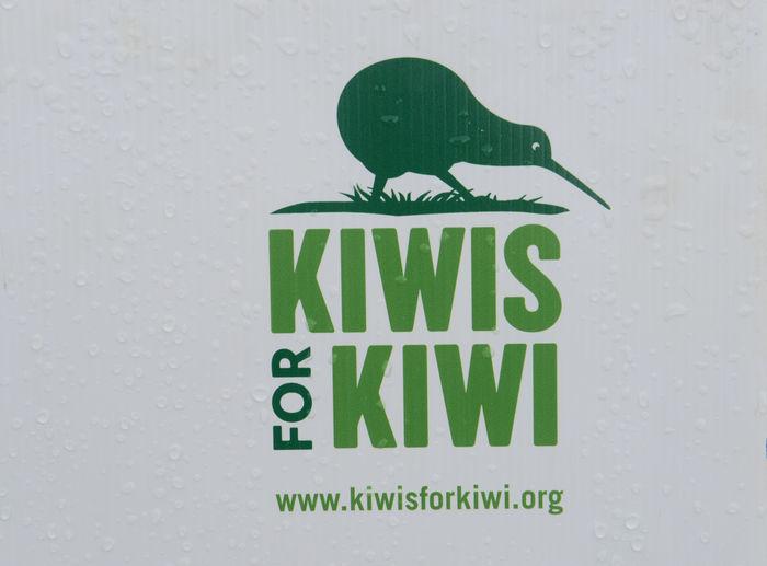 """KIWIS Hinweisschild Kiwi Kiwis Kiwis (Gattung Apteryx) Oder Schnepfenstrauße Sind Flugunfähige, Nachtaktive Vögel In Den Wäldern Neuseelands. Die Gattung Ist Die Einzige Der Familie Apterygidae Und Besteht Rezent Nur Aus Je Nach Lehrmeinung Drei Oder Fünf Arten. Unter Den Laufvögeln Stellen Kiwis Die Mit Abstand Kleinsten Vertreter Dar. Der Kiwi Ist Das Nationalsymbol Neuseelands. Von Ihm Leitet Sich Die Eigenbezeichnung Der Bewohner Neuseelands Als """"Kiwis"""" Ab. Hinweisschild Naturschutz Vogelfotografie Vogel Communication Western Script Text Sign Information Information Sign Capital Letter Close-up No People Green Color Message Westland Tai Poutini National Park"""