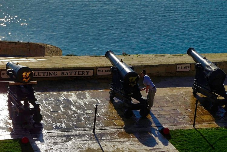 Cleaning Gun Travel Travel Photography Traveling Travelling Valetta Malta Battery Canon Grand Harbour High Angle View Military Sea Travel Destinations Traveller Valetta Weapon