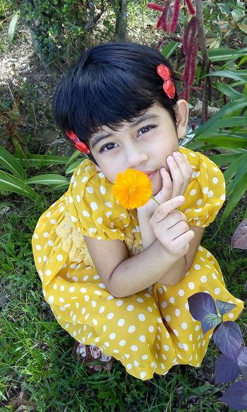 Yellow dotted Flower dress First Eyeem Photo Cutekid Yellow Flower Polka Dot Kid Flower Yellow Color Smile ✌ EyeEmNewHere Women Around The World