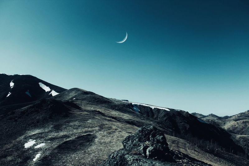 Mountains & Moon Nature Photography Moon Travel Adventure Hiking Nature_collection Mountains CanonEOS600D EyeEm Gallery EyeEm Selects Sky Beauty In Nature Tranquility Nature Scenics - Nature Tranquil Scene Moon Clear Sky No People Mountain Environment Landscape Outdoors Blue Non-urban Scene Land