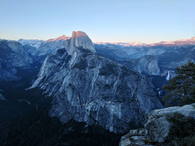 Travel Destinations Yosemite Valley Iconic Landscape Vista Viewpoint Granite Cliff Waterfall Power In Nature Landscape Mountain Snow Mountain Range Cold Temperature Scenics Beauty In Nature Snowcapped Mountain Sunset Outdoors Nature Yosemite National Park