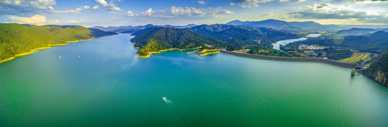 Beautiful Lake Eildon in Australia - scenic aerial panorama Australia Australian Australian Landscape Drone  Nature Scenic View Aerial Aerial View Beauty In Nature Cloud - Sky Dam Day Drone Photography Eildon Lake Lake Eildon Landscape Mountain Mountain Range Nature No People Outdoors Park Scenics Sky Tranquil Scene Tranquility Water