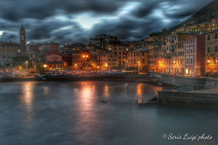 Porticciolo di Nervi by night Nightlight Watercolor Reflections Seascape City Cityscape Urban Skyline Illuminated Nightlife Town Place Of Worship Reflection City Life