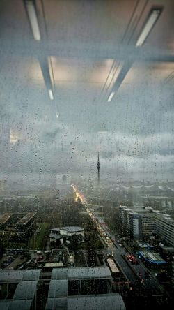 Taking Photos Rainy Day Raindrops Reflections Clouds And Sky Office View Olympiaturm HBoB Officeview