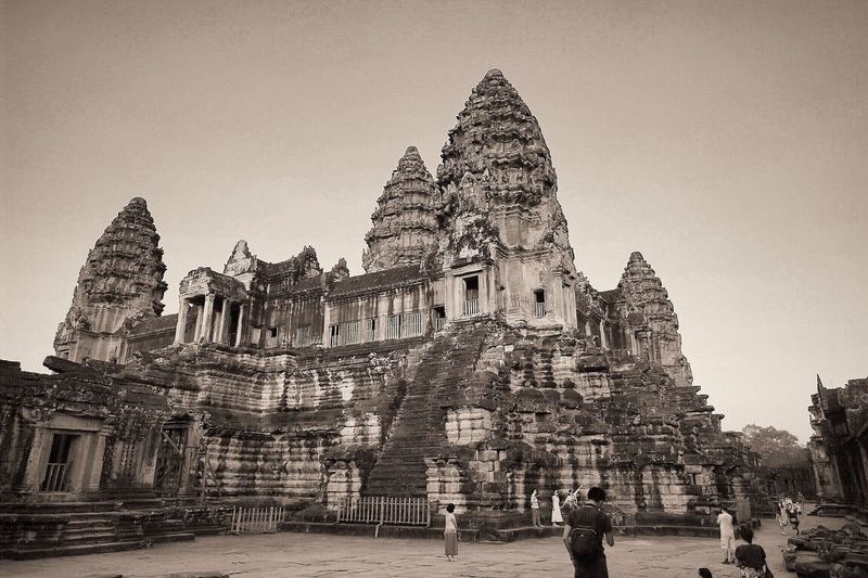 The sheer size of Angkor Wat is hard to comprehend, this was taken on the 2nd floor. Travel Photography Temple Cambodia Angkor Wat Black And White Black & White Monochrome Eye4photography  The Tourist Taking Photos Historical Building International Landmark Architecture Architecture_bw Built Structure EyeEm Gallery
