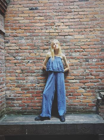 Brick Wall Full Length Blond Hair Young Women Vintage Style Model