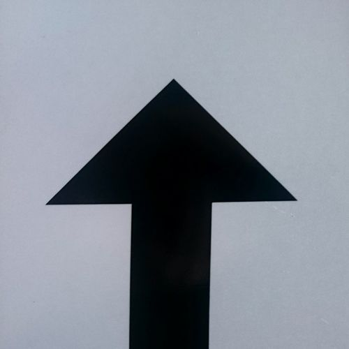 The Direction is Up Black Arrow Sign Post Minimalism Simplicity
