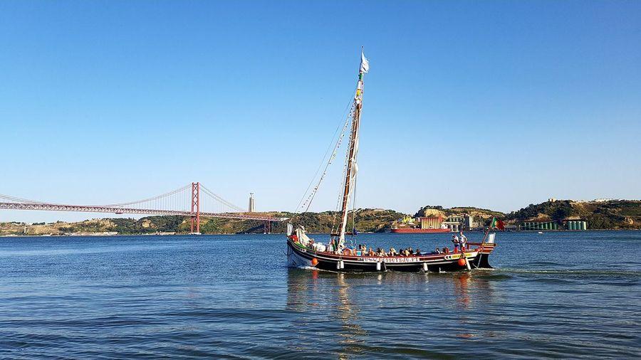 Water Nautical Vessel Sky Day Outdoors Blue Clear Sky Tejo Tejo River Lisbon - Portugal