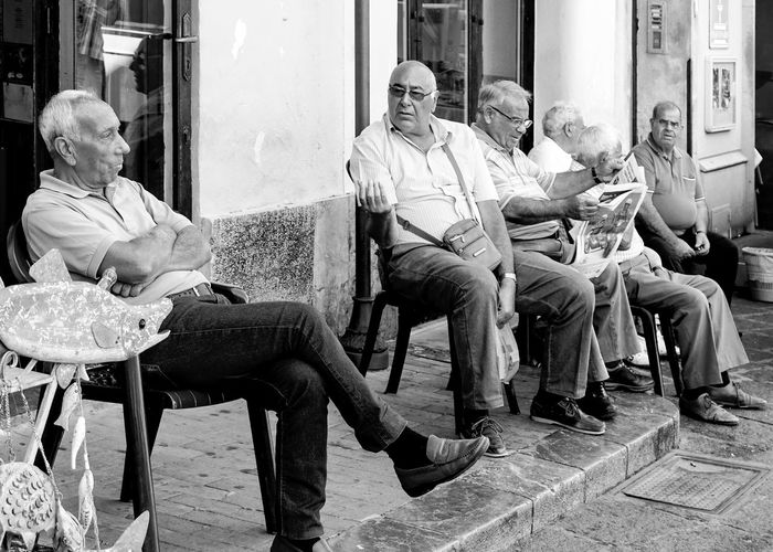 old men in Palermo, Sicily, italy Senior Adult Sitting Men Senior Men Seat Real People Black And White Streetphotography Street Photography Palermo Sicily Gesturing Gesture Arguing