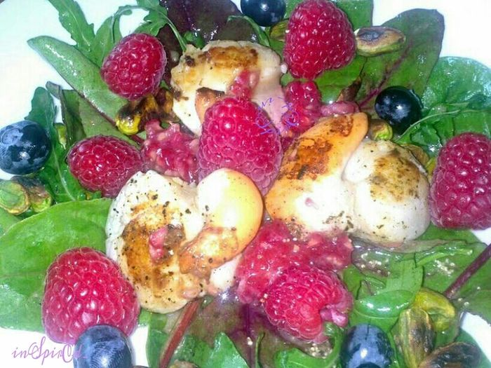 Raspberry and blueberry salad with seared scallops. Out Of My Cauldron SZeaglesoul The Ville
