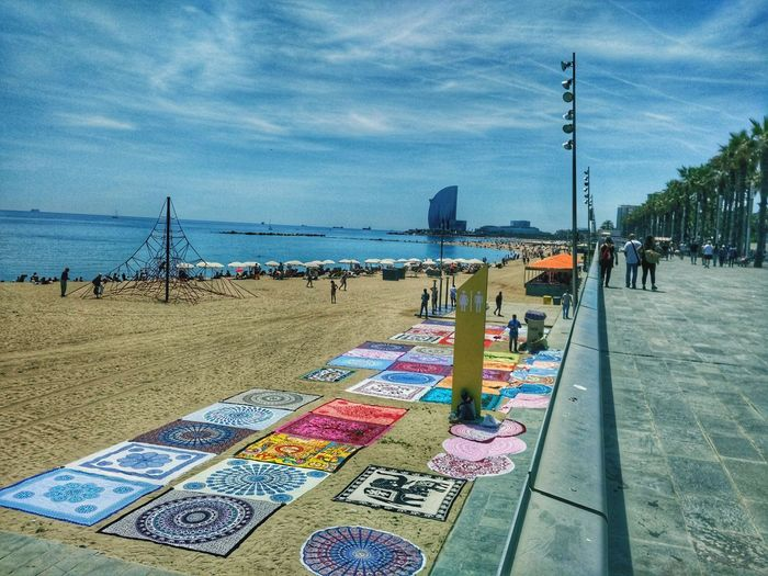 Sea Beach Sky Water Horizon Over Water Outdoors Day Summer Large Group Of People Barceloneta Beach Visual Feast
