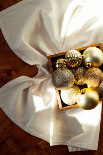 High angle view of christmas decoration on table