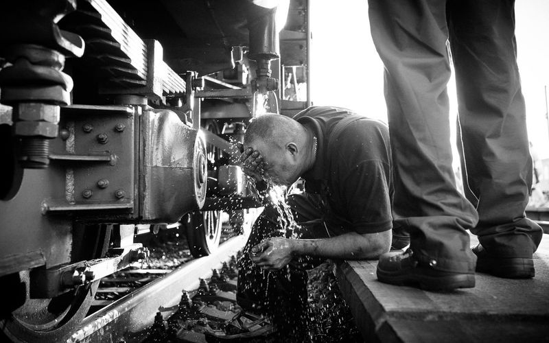 "...yesterday's ""hellis"" ride with the historic steam locomotive. The Street Photographer - 2014 EyeEm Awards Street Blackandwhite Shootermag"