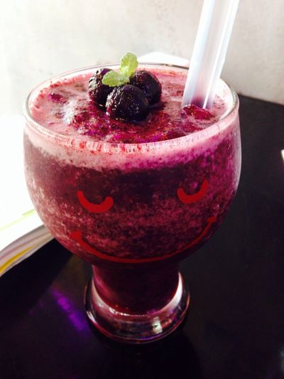 Blueberry In The Cafe Frappe Smile Everyday Joy joy with asmiling glass