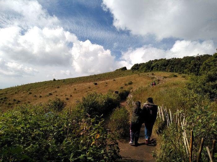 Rear view of people walking on landscape against sky