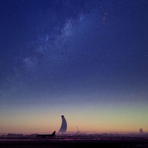 Starry sky over airport