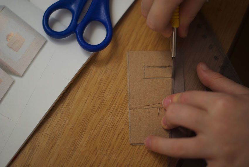 DIY for today. Chic Close-up Cutter Day DIY DIY At Home Education Handcraft Handmade Handwork Home Work Homework Human Body Part Human Hand Indoors  One Person People Real People Ruler Scissors Table Tinker Miles Away