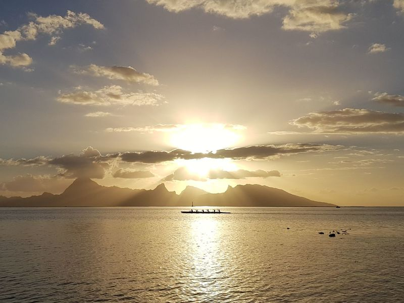 Sunset Landscape Silhouette Horizon Over Water Sea Reflection Tranquility Water Beauty French Polynesia Lost In The Landscape Ilsland Canoe Canoeist Been There. Travel Destinations Island Coucher De Soleil Idyllic Moorea