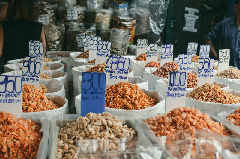 Food for sale at market stall chinatown in bangkok