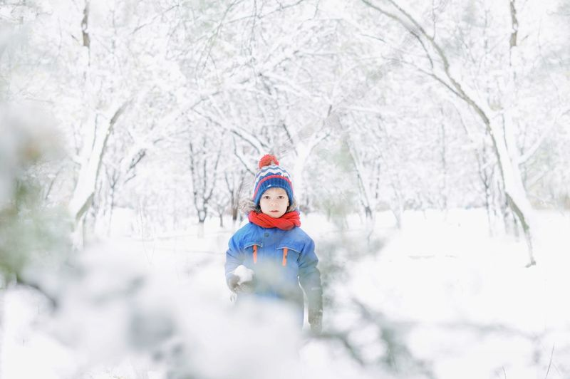 Kids Playing Kids One Person Boy Wintertime Snowing Snow Wintertime Winter