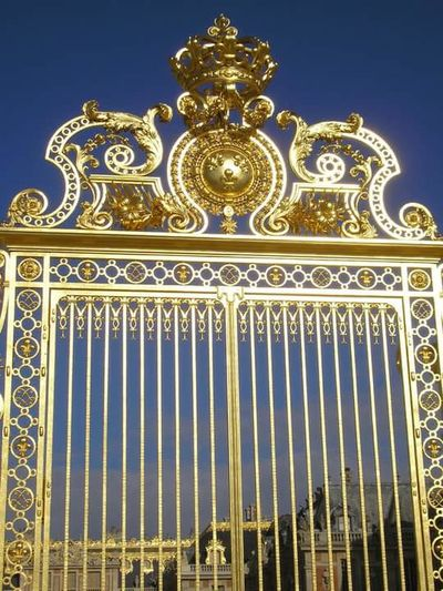 France , Versal , Gold Colored Gold Clear Sky No People King - Royal Person Day History Metal