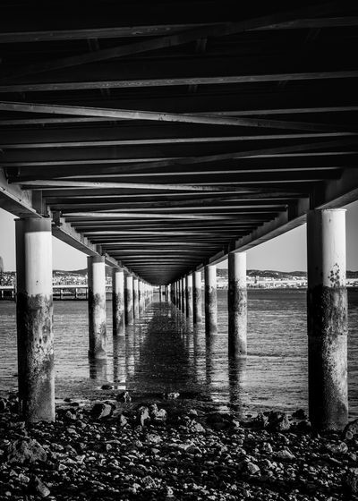Portugal Architectural Column Architecture Architecturelovers Below Blackandwhite Photography Bridge Bridge - Man Made Structure Built Structure Connection Day Horizon Over Water Nature No People Outdoors Sea Under Underneath Vascodagama Water