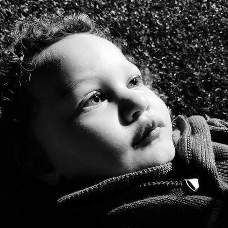 Be. Ready. This my baby boy (2 years) looking at the night sky while at his siblings footy practice. Hes mesmerized. One Person Close-up Portrait Boy Son Gaze Gazing Black And White Mixed Ethnicity Babyboy Baby Cute Black And White Friday
