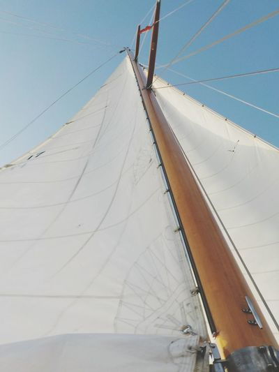 Low Angle View Of Boat Canvas Against Clear Sky
