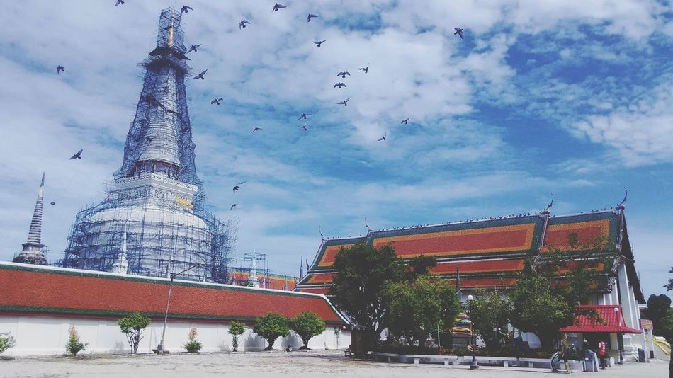 Wat Phra Mahathat Buddhist Temple Architecture Built Structure The Top Pagoda Is Gold Place Of Worship History Statue Sculpture City Real People Outdoors People Nature Cloud - Sky Day Tree Birds Tourist Tourist Attraction  Tourism