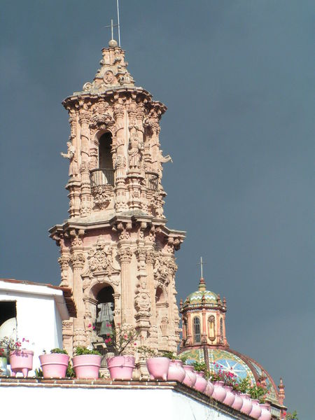 Santa Prisca Cathedral, Taxco Mexico Cathedral Mexico Architecture Barroque Bell Tower Building Exterior Built Structure Catholic Church Clear Sky Colonial Architecture Day Low Angle View No People Outdoors Religion Sky Spirituality Tourism Travel Destinations Tree