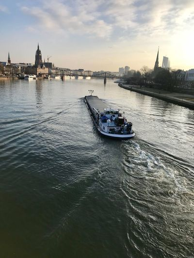 Barge on the Main Gernany European Central Bank Church Water Transportation Mode Of Transport Nautical Vessel Sky Architecture Building Exterior Nature No People Day Cloud - Sky Travel Destinations Built Structure Outdoors Sunset City