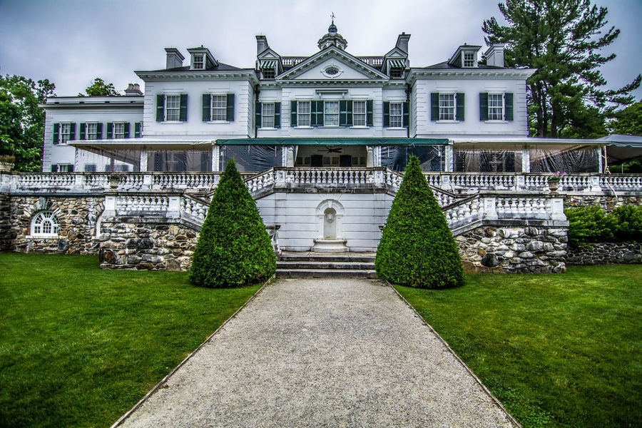 Architectural Column Architecture Built Structure Cloud - Sky Day Edith Wharton Estate Façade Footpath Formal Garden Grass Green Color Growth Hedge Lawn Lenox, MA No People Outdoors Plant Sky The Way Forward Tourism Travel Destinations Tree Walkway The Mount