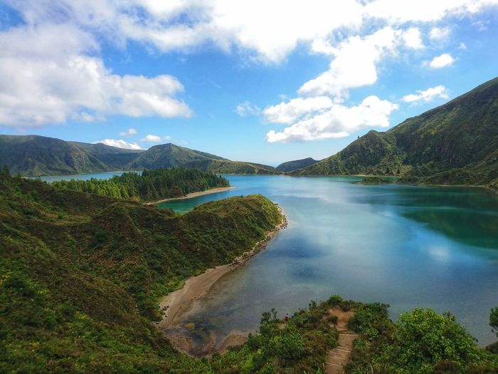 😍 Lagoa Do Fogo Volcanic Landscape Açores Water Tree Mountain Lake Sky Landscape Cloud - Sky Mountain Range Geology