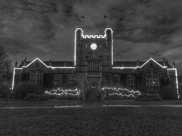 Westmount Montreal Canada Quebec Cityhall Christmas Lights Blackandwhite Blackandwhite Photography Dawn