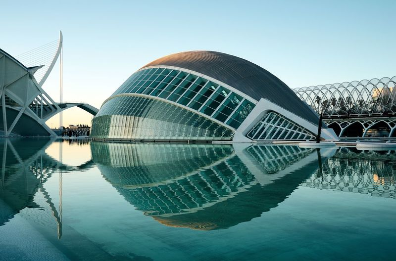 The aliens have landed València Reflection Water Architecture Modern Travel Destinations Built Structure City Reflecting Pool Building Exterior Symmetry Clear Sky No People