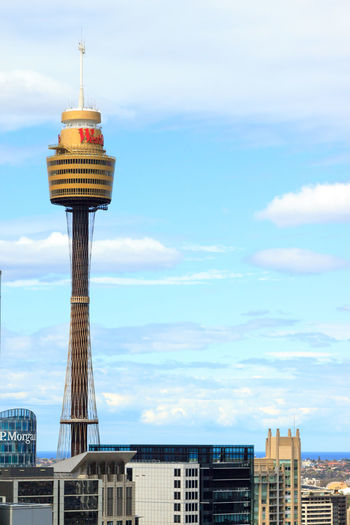 Day shot of the Sydney Tower from 40 floors up Cityscape Architecture Building Exterior Built Structure City Cityscape Cloud - Sky Day Low Angle View Modern Nature No People Outdoors Sky Skyscraper Tower Travel Destinations Urban Skyline