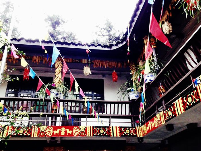 Building Architecture Ancient Building Design Decoration Tradition Culture Flags Prayer Flags  Colors Food Decoration Religion Chinese Minority Mount Emei Emei Mountain Sichuan China 43 Golden Moments Colour Of Life Festival Season