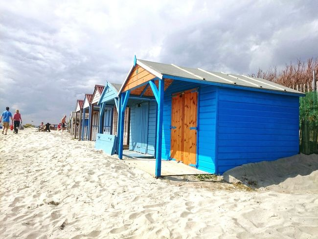 Sand Beach Multi Colored Sky Beach Hut Chichester Harbour Summer