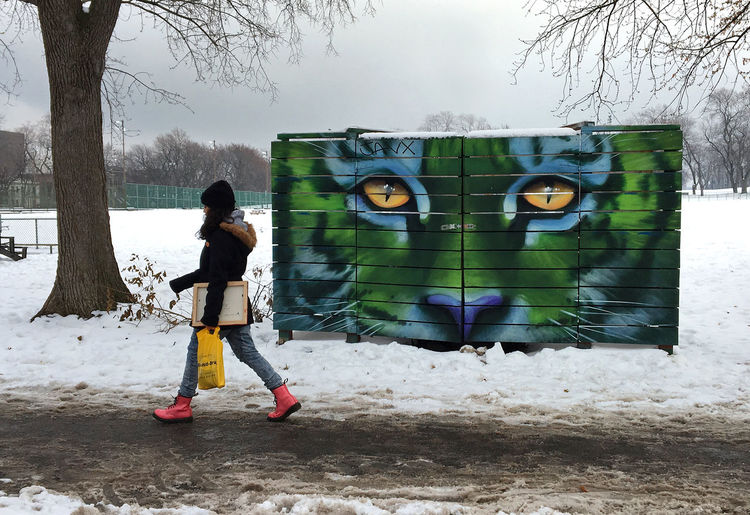 Cat Eyes City Landscape City Life Day Full Length Montreal, Canada Montréal Motion One Person Outdoors Parc Jeanne-mance People Watching Plateau-Mont-Royal Snow Street Art Street Mural Streetphotography Traveling Home For The Holidays Urban Landscape Urbanphotography Winter Artist Adapted To The City Montreal Artist