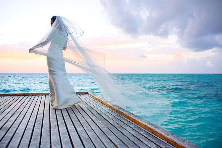 Wedding Dress Horizon Over Water Cloud - Sky Beauty In Nature Bride Ocean View EyeEm Gallery EyeEmBestPics EyeEm Best Shots - Nature Maldives Beauty In Nature Overwater Bungalow EyeEm Best Shots EyeEm Best Edits ExploreEverything Beautiful Woman Sunset Sunset_collection Ocean Ocean Photography The Creative - 2018 EyeEm Awards