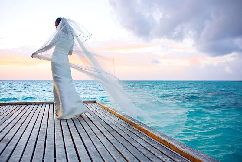 Wedding Dress Horizon Over Water Cloud - Sky Beauty In Nature Bride Ocean View EyeEm Gallery EyeEmBestPics EyeEm Best Shots - Nature Maldives Beauty In Nature Overwater Bungalow EyeEm Best Shots EyeEm Best Edits ExploreEverything Beautiful Woman Sunset Sunset_collection Ocean Ocean Photography