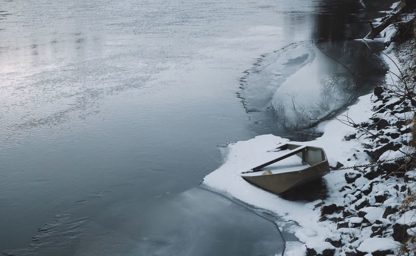 Close-Up Of A Boat At Frozen Lake