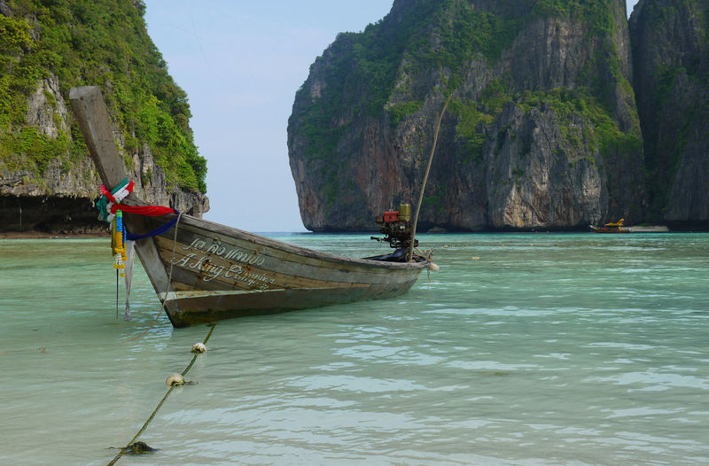 Boat Koh Phiphi Mountain Nature Nautical Vessel Phi Phi Rock Formation Scenics Thai Thailand Tranquil Scene Tranquility Water