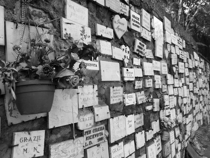 Faith and devotion. Rome Wall Exvoto Beauty Holy Mary Largo Preneste