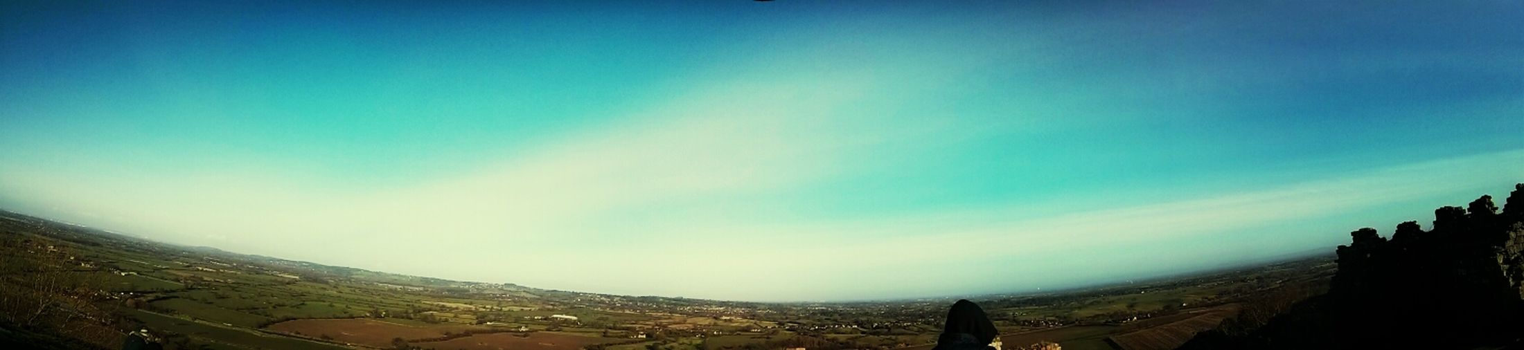 Cheshire plains from the top of Beeston Castle done as 3 shot panorama